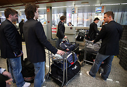 Hockey players at departure of Slovenian national team to Hockey IIHF WC 2008 in Halifax, Canada,  on April 27, 2008 in Airport Joze Pucnik, Brnik, Slovenia.  (Photo by Vid Ponikvar / Sportal Images)
