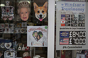 Tourist currency rates and royal family souvenirs and merchandise on sale in a tourist gift shop window as the royal town of Windsor gets ready for the royal wedding between Prince Harry and his American fiance Meghan Markle, on 14th May 2018, in London, England.