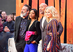 Jeffrey Dean Morgan, Naomie Harris, Dwayne Johnson and Malin Akerman attending the European premiere of Rampage, held at the Cineworld in Leicester Square, London. Picture date: Wednesday April 11, 2018. See PA story SHOWBIZ Rampage. Photo credit should read: Ian West/PA Wire