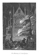 Old Saint Paul's burning during the Fire of London (1666). Illustration by John Franklin (active 1800-1861) for William Harrison Ainsworth 'Old Saint Paul's', London 1855 (first published 1841). Engraving