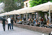 The outside seating. Restaurant PM and Friends (PM och Vanner) Vaxjo town. Smaland region. Sweden, Europe.
