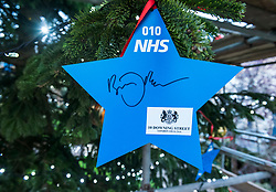 "© Licensed to London News Pictures; 17/11/2020; Bristol, UK. A star signed by the Prime Minister BORIS JOHNSON is placed on a giant Christmas tree for the ""Florence NHS Christmas Tree"" Thank You NHS Stars Fundraiser, with blue stars signed by among others the UK Prime Minister Boris Johnson, Health Secretary Matt Hancock and Deputy Chief Medical Officer Jonathan Van-Tam. For the 10th year Clifton Village in Bristol has a 50ft illuminated Christmas tree, the tallest in any UK village. Photo credit: Simon Chapman/LNP."