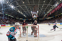 KELOWNA, CANADA - JANUARY 4:  Taylor Gauthier #35 of the Prince George Cougars defends the net against the Kelowna Rockets on January 4, 2019 at Prospera Place in Kelowna, British Columbia, Canada.  (Photo by Marissa Baecker/Shoot the Breeze)