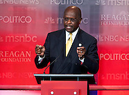 Presidential republican candidate Herman Cain.Eight republican candidates for US President face off at a debate held at the Ronald Reagan Library. The debate was sponsored by NBC News and POLITICO, and was moderated by Brian Williams, anchor of NBC Nightly News.