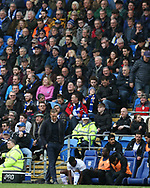 Garry Monk, the manager of Birmingham city looks dejected on the touchline. EFL Skybet championship match, Cardiff city v Birmingham City at the Cardiff city stadium in Cardiff, South Wales on Saturday 10th March 2018.<br /> pic by Andrew Orchard, Andrew Orchard sports photography.