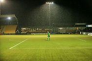 Harrogate goalkeeper James Belshaw watches on as the rain falls during the EFL Sky Bet League 2 match between Harrogate Town and Exeter City at the EnviroVent Stadium, Harrogate, United Kingdom on 19 January 2021.