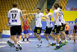 Players of Germany celebrate win against Serbia after handball match between National teams of Serbia and Germany in Main Round of 2018 EHF U20 Men's European Championship, on July 25, 2018 in Arena Zlatorog, Celje, Slovenia. Photo by Urban Urbanc / Sportida