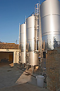 Fermentation tanks. Mas Comtal, Avinyonet, Penedes, Catalonia, Spain