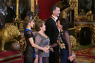 King Felipe VI of Spain, Michelle Bachelet, Queen Letizia of Spain and Ana Patricia Botin attended a Gala Dinner in honour of Chilean President during her State Visit at Palacio Real on October 29, 2014 in Madrid