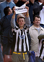 Photo: Jed Wee.<br />Sunderland v Newcastle United. The Barclays Premiership. 17/04/2006.<br /><br />A Newcastle fan taunts Sunderland fans before the start of the game with a message in support of Sunderland chairman Bob Murray.