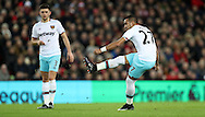 Dimitri Payet of West Ham United scoring during the Premier League match at Anfield Stadium, Liverpool. Picture date: December 11th, 2016.Photo credit should read: Lynne Cameron/Sportimage