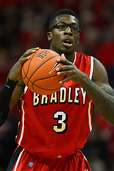 04 February 2012: Taylor Brown  during an NCAA Missouri Valley Conference mens basketball game where the Bradley Braves lost to the Illinois State Redbirds 78 - 48 in Redbird Arena, Normal IL