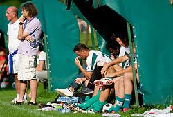 Branko Oblak, Safet Hadzic and Sebastjan Cimerotic of Olimpija during preseason friendly football match between NK Olimpija and SPINS selection, on June 30, 2009, in Menges, Slovenia. SPINS won 3:2.(Photo by Vid Ponikvar / Sportida)