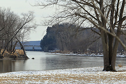 11 February 2017:   The Illinois River at Starved Rock State Park in Illinois with the river locks upstream.