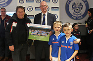 After match presentation during the EFL Sky Bet League 1 match between Rochdale and Gillingham at Spotland, Rochdale, England on 23 September 2017. Photo by Daniel Youngs.