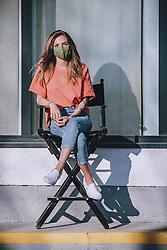 THEMENBILD - ein Model posiert mit einer MNS Maske. Die Modedesignerin Irina Gahleitner, Inhaberin und kreativer Kopf von IGGI Fashion, stellt mit Hand modische MNS Masken während der Corona Pandemie her. Die gebürtige Russin, die seit über 10 Jahren im Pinzgau lebt, gründete das Modelabel IGGI Fashion 2018 und bietet Alpine-Lifestyle Mode mit dem gewissen Etwas an, aufgenommen am 10. April 2020, Saalfelden, Oesterreich // a model poses with an MNS mask. The fashion designer Irina Gahleitner, owner and creative head of IGGI Fashion, produces fashionable MNS masks by hand during the Corona pandemic. Born in Russia and living in Pinzgau for over 10 years, she founded the label IGGI Fashion 2018 and offers alpine lifestyle fashion with that something special, Saalfelden, Austria on 2020/04/10. EXPA Pictures © 2020, PhotoCredit: EXPA/ JFK