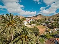 Aerial view Santa Maria de Betancuria church in Fuerteventura, Canary Islands.
