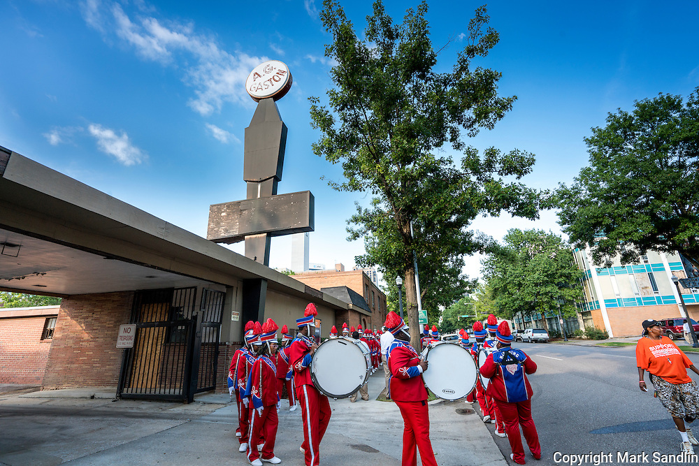 G.W.  Carver High School Band participating in the March for Birmingham in front of the AG Gaston Motel