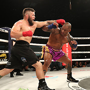 FORT LAUDERDALE, FL - FEBRUARY 15: Hector Lombard (R) blocks a punch from David Mundell during the Bare Knuckle Fighting Championships at Greater Fort Lauderdale Convention Center on February 15, 2020 in Fort Lauderdale, Florida. (Photo by Alex Menendez/Getty Images) *** Local Caption *** Hector Lombard; David Mundell