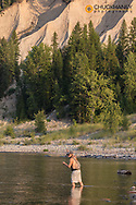 Fly fishing on the Flathead River near Coram, Montana, USA MR