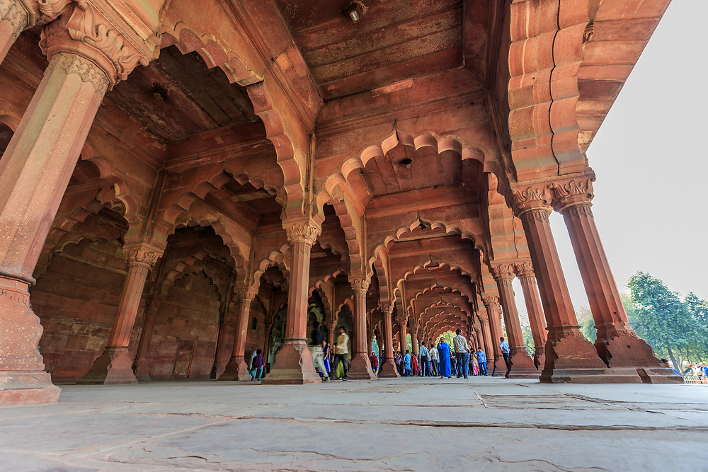 Diwan-i-Aam, the Public Audience Hall,  in the Red Fort of Delhi, India. The multiple arches present a view of flowing curves.