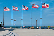 Five American flags fly at Navy Pier on the edge of Lake Michigan in Chicago. Missoula Photographer