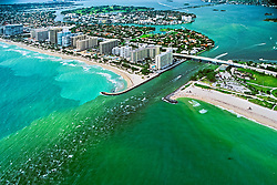 runoff pollution - algae-grown, polluted sea water from cities in Intracoastal Waterway and in Biscayne Bay, running out to Atlantic Ocean through a channel, Bal Harbour, Miami, Florida, USA, Caribbean Sea, Atlantic Ocean
