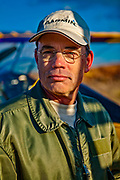 Aerobatic pilot and Pitts Model 12 expert Larry King.  Photographed at Briscoe Field on a very cold January day in 2009.<br />