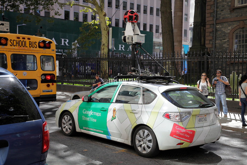 Google streetview car in Downtown New York on Vesey Street by St Paul's Chapel