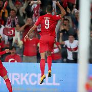 Turkey's Umut Bulut (R) celebrate his goal during their UEFA Euro 2016 qualification Group A soccer match Turkey betwen Czech Republic at Sukru Saracoglu stadium in Istanbul October 10, 2014. Photo by Aykut AKICI/TURKPIX