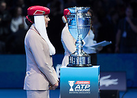 Tennis - 2017 Nitto ATP Finals at The O2 - Day One<br /> <br /> Group Boris Becker Singles: Roger Federer (Switzerland) vs. Jack Sock (USA)<br /> <br /> The ATP World Number 1 trophy awaits it's winner Rafael Nadal (Spain) at the O2 Arena<br /> <br /> COLORSPORT/DANIEL BEARHAM