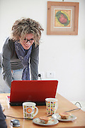 Home office - Young stylish woman works from home