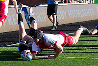 Rugby Union - 2020 / 2021 Gallagher Premiership - Round 11 - Newcastle Falcons vs Harlequins - Kingston Park<br /> <br /> Stephan Lewies of Harlequins scores a try to make it 14-5 to Newcastle Falcons<br /> <br /> Credit: COLORSPORT/BRUCE WHITE