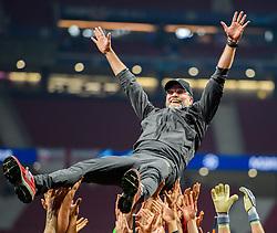 June 2, 2019 - Madrid, Spain - 190602 Head coach Jürgen Klopp of Liverpool is raised by the players celebrating winning the UEFA Champions League final between Tottenham and Liverpool on June 2, 2019 in Madrid..Photo: Petter Arvidson / BILDBYRÃ…N / kod PA / 92302 (Credit Image: © Petter Arvidson/Bildbyran via ZUMA Press)