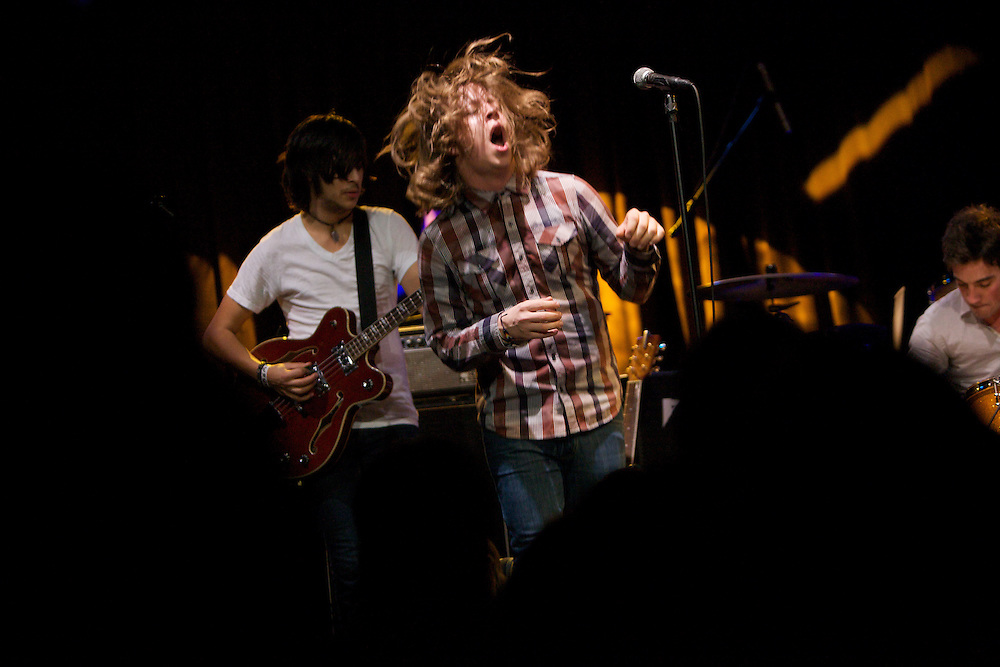 Ben Liebsch, lead singer of You, Me, and Everyone We Know, performs with the band at the Highline Ballroom in Manhattan, Wednesday, February 9, 2011. (Photo/Claudio Papapietro)