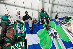 Fans of Panathinaikos during football match between NK Maribor and Panathinaikos Athens F.C. (GRE) in 1st Round of Group Stage of UEFA Europa league 2013, on September 20, 2012 in Stadium Ljudski vrt, Maribor, Slovenia. Maribor defeated Panathinaikos 3-0. (Photo By Vid Ponikvar / Sportida)