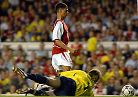 Photo. Raymond Field, Digitalsport<br /> NORWAY ONLY<br /> <br /> Martin Keown Testomonial Match<br /> <br /> Arsenal v England x1<br /> 170504<br /> <br /> Robert Green denies Jeremie Aliadiere from scoring
