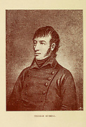 Thomas Paliser Russell (21 November 1767 – 21 October 1803) was founding member, and leading organiser, of the United Irishmen marked by his radical-democratic and millenarian convictions. He was executed for his part in Robert Emmet's rebellion in 1803.  From the book Ireland in '98 : sketches of the principal men of the time, based upon the published volumes and some unpublished mss. of the late Dr. Richard Robert Madden. With engraved portraits and contemporary illustrations by Daly, J. Bowles (John Bowles), editor; Madden, Richard Robert, 1798-1886, bibliographic antecedent; Swan Sonnenschein, Lowrey, & Co., publisher; Spottiswoode & Co., printer  Published in London by Swan Sonnenschein, Lowrey, & Co., Paternoster Square in 1888