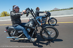 """Kim Tig Coates and Tommy Chibs Flanagan from the Sons of Anarchy lead the 3rd Annual Crusaders for the Children """"Child Empowerment Ride"""" during Arizona Bike Week 2014. USA. April 6, 2014.  Photography ©2014 Michael Lichter."""