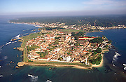 Sri Lanka. Aerial view of the Galle Fort. 72 miles south of Colombo. The Dutch built the main part of the fort with its ramparts and fortifications.