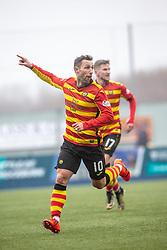 Partick Thistle's Scott McDonald cele scoring their goal. half time : Falkirk 1 v 1 Partick Thistle, Scottish Championship game played 16/3/2019 at The Falkirk Stadium.