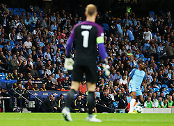 Manchester City manager Pep Guardiola and Joe Hart look towards each other during the match - Mandatory by-line: Matt McNulty/JMP - 24/08/2016 - FOOTBALL - Etihad Stadium - Manchester, England - Manchester City v Steaua Bucharest - Champions League Qualifying Play-off 2nd Leg