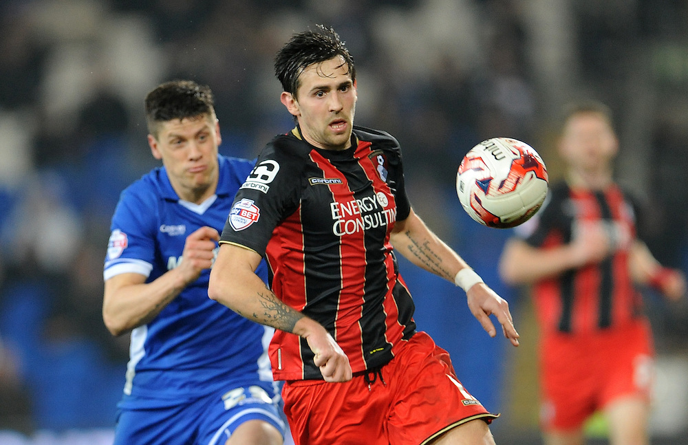 Bournemouth's Tommy Elphick in action during todays match  <br /> <br /> Photographer Ian Cook/CameraSport<br /> <br /> Football - The Football League Sky Bet Championship - Cardiff v Bournemouth - Tuesday 17th March 2015 - Cardiff City Stadium - Cardiff<br /> <br /> © CameraSport - 43 Linden Ave. Countesthorpe. Leicester. England. LE8 5PG - Tel: +44 (0) 116 277 4147 - admin@camerasport.com - www.camerasport.com