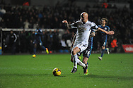 Jonjo Shelvey of Swansea City scores their second goal.<br /> Barclays Premier League match, Swansea city v Newcastle Utd at the Liberty stadium in Swansea, South Wales on Wednesday 4th Dec 2013. pic by Phil Rees, Andrew Orchard sports photography,
