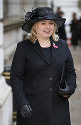 © Licensed to London News Pictures. 12/11/2017. London, UK. Culture Secretary Karen Bradley walks through Downing Street to attend the Remembrance Sunday Ceremony at the Cenotaph in Whitehall. Photo credit: Peter Macdiarmid/LNP