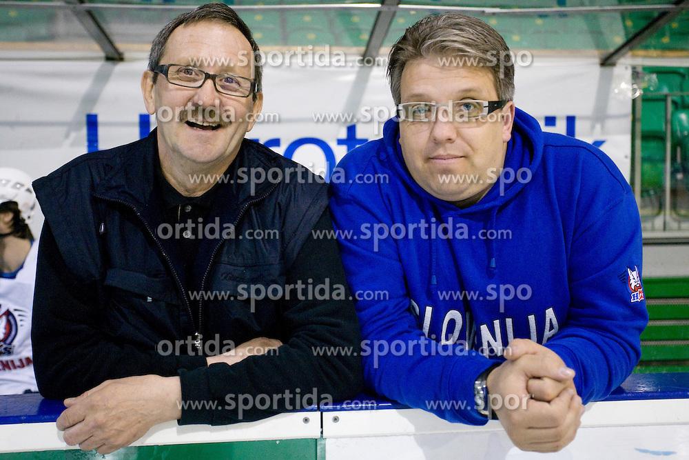 Jani Aljancic and Diko Stevic at first practice of Slovenian National Ice hockey team before World championship of Division I - group B in Ljubljana, on April 5, 2010, in Hala Tivoli, Ljubljana, Slovenia.  (Photo by Vid Ponikvar / Sportida)