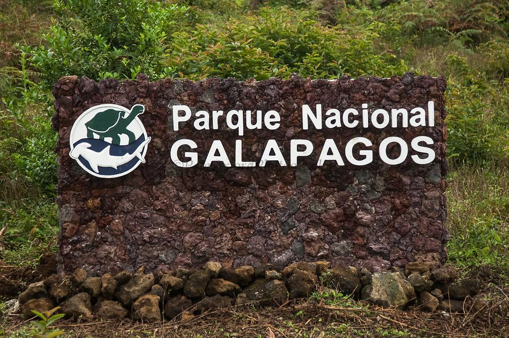 Galapagos National Park Sign.<br /> Isabela Island, GALAPAGOS ISLANDS<br /> ECUADOR.  South America