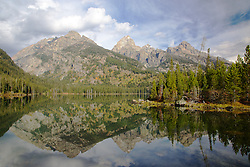 """Taggert Lake, Grand Tetons, mountain reflection, Grand Teton National Park<br /> <br /> For production prints or stock photos click the Purchase Print/License Photo Button in upper Right; for Fine Art """"Custom Prints"""" contact Daryl - 208-709-3250 or dh@greater-yellowstone.com"""
