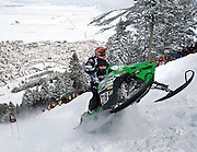 NEWS&GUIDE PHOTO / PRICE CHAMBERS.Kyle Tapio speeds to the top of Snow King on Sunday as he competes for the King of Kings title. From Battle Ground, Wash., Tapio won the top seat at the World Championship Snowmobile Hill Climb for the third time in four years. For his last run he posted a time of 1 minute and 4.978 seconds.