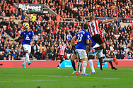 Wes Brown of Sunderland heads at goal but sees it cleared off the line - Sunderland vs. Everton - Barclay's Premier League - Stadium of Light - Sunderland - 09/11/2014 Pic Philip Oldham/Sportimage